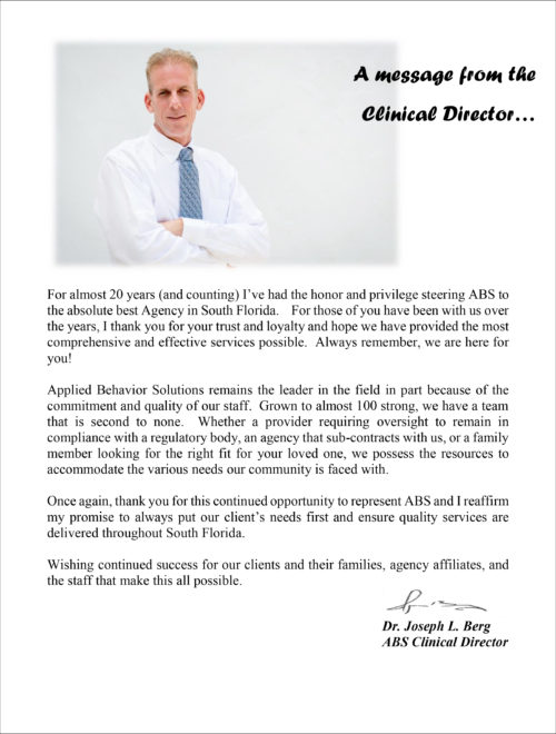 message from the clinical director